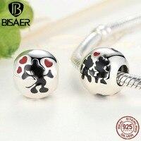 100 925 Sterling Silver Minnie Mickey Kiss Beads Fit Pandora Bracelet DIY Jewelry Wholesale Girlfriend Gift
