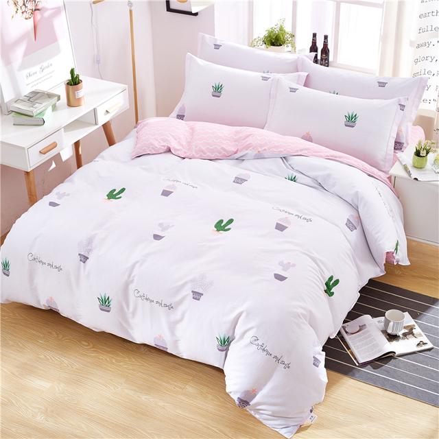 Hot 100 Cotton Bedding Set Plant Cactus White Duvet Cover Pink Flat Sheet Pillowcase Quilt Twin Queen King Bedclothes