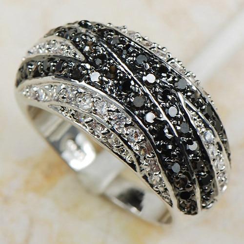 Baltas juodas krištolo cirkonis Moterims 925 Sidabrinis žiedas R593 Dydis 6 7 8 9 10 11 12