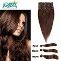 70g-200 g/Set Clip En Extensiones Del Pelo Humano #4 Dark Brown Peruano Pelo Recto Clip Ins Para Linea de accesorios de Belleza de las mujeres