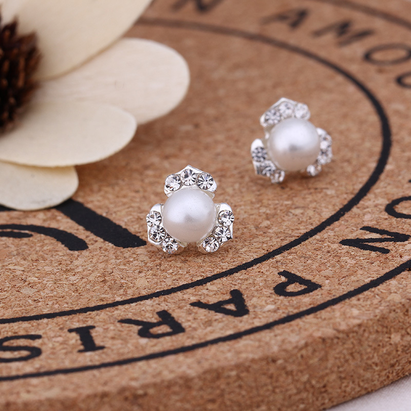 Mossovy Clover Zircon Silver Stud Earrings for Women Fashion Popular Simulated Pearl Female Jewelry Aretes De Mujer