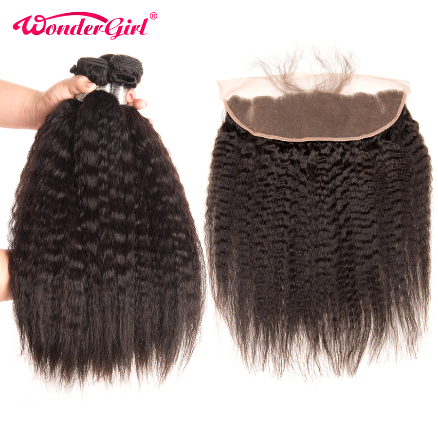 Brazilian Kinky Straight Hair 3 Bundles With Frontal 13x4 Lace Frontal Closure With Bundles Remy Human