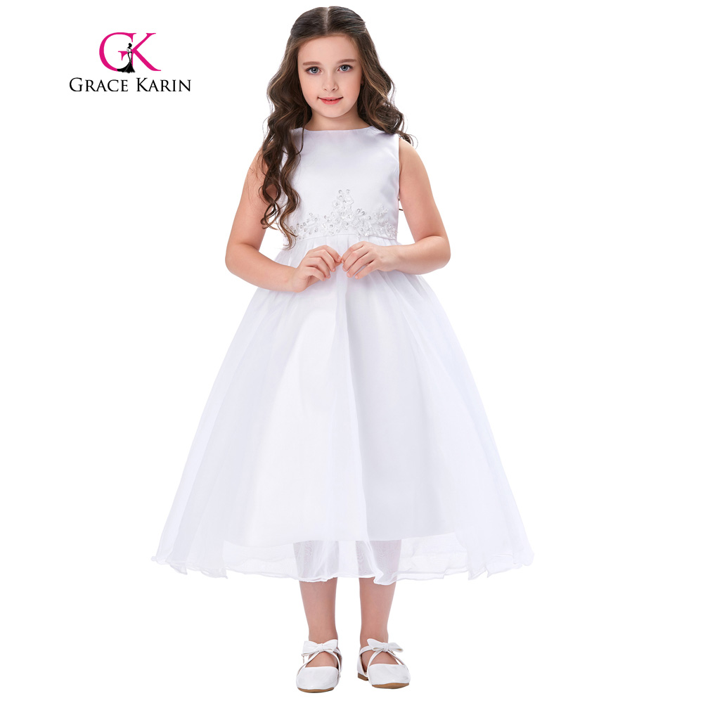 Grace Karin   Flower     Girl     Dresses   2018 New Arrivals Sleeveless Ball Gown Lace Party Gowns Toddler Party Pageant   Dress   Gown White