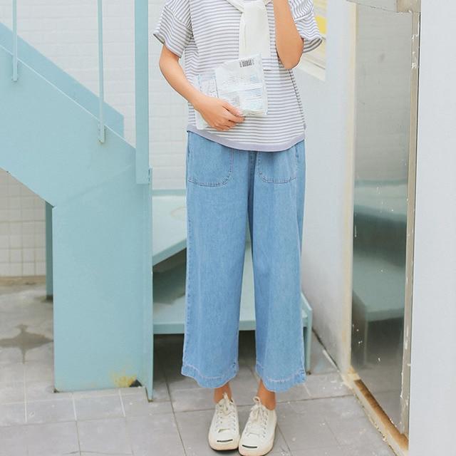 748ae81ea Kpop calça jeans tamanho grande mulher outono ampla perna longa calças  tornozelo calças jeans femininas bolsos