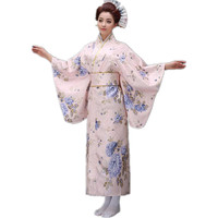 Top Fashion Novelty Women Yukata Kimono With Obi Vintage Japanese Style Prom Dress Performance Dance Costume One Size