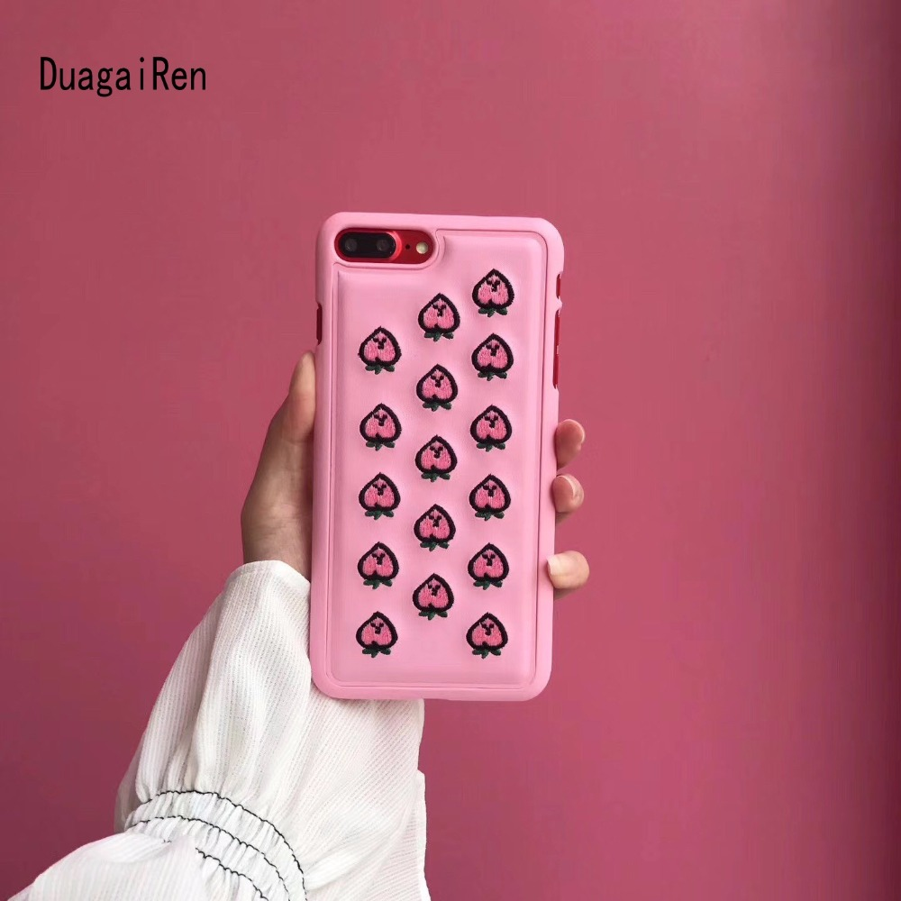 DuaGaiRen Luxury Embroidery Peach on PU Leather Cover For iPhone X 8 6 6s 7 Plus Case Fashion Korean Back Cover Hard Shell