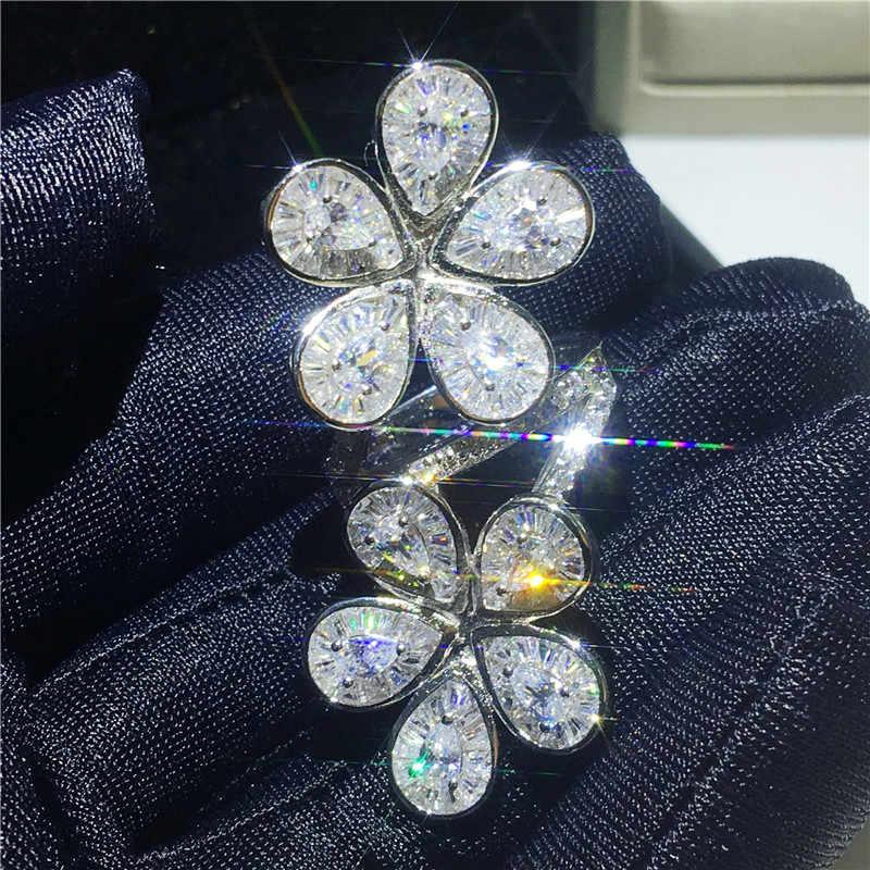 Handmade ดอกไม้ 925 แหวนเงินแท้ AAAAA cz หินแหวนหมั้นแหวนเครื่องประดับ