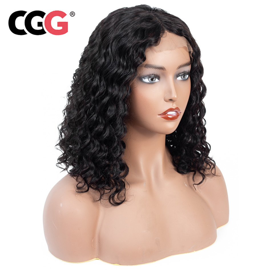 CGG Lace Frontal Human Hair Wigs Natural Color Peruvian Deep Wave Hair Pre Plucked  13*4 Short Bob Wigs For Black Women Remy