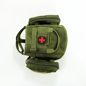 Chaleco de perro de servicio MOLLE mejorado K9 arnés para perros tácticos Chaleco con 2 bolsas de bolsa de engranaje militar ajustable M tamaño L
