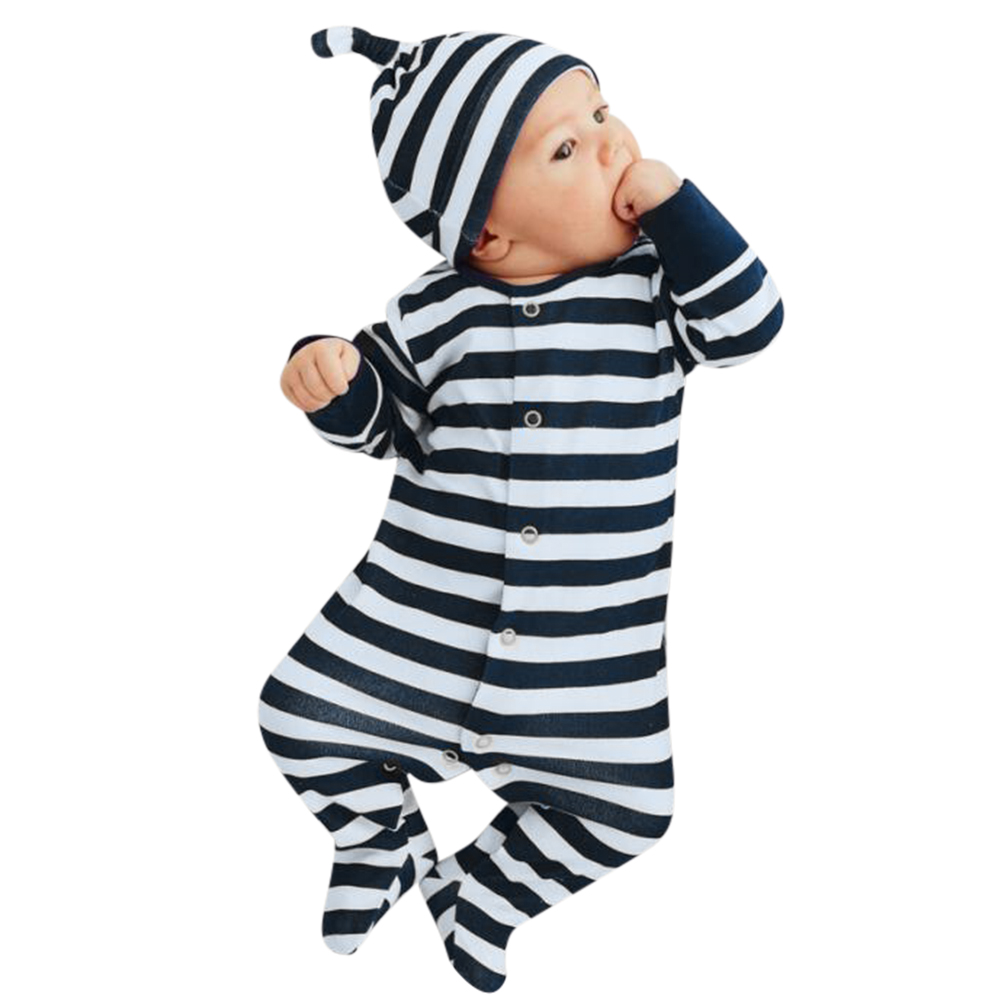 Newborn Baby Rompers Boy Girl Leg Apart Anti-kick Footed Rompers Long Sleeve O-neck Striped Sleep Clothes Night Robe with Hat baby rompers o neck 100