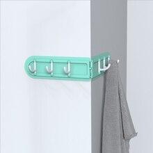FEIGO 1Pc Creative Multi-Purpose Corner Foldable 6 Row Hooks Punch Free Environmental Protection Does Not Hurt Wall Hook F793