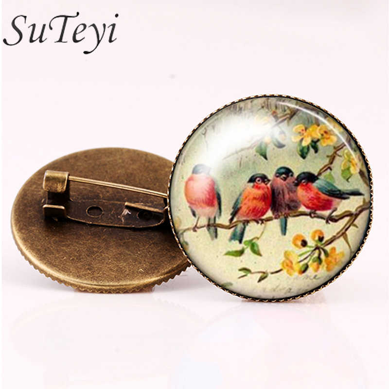 SUTEYI Stylish Woman Glass Cabochon Animal Brooch  Art Picture Birds Brooches Pins Suit Men's Shirts Accessory crystal Jewelry