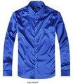 Blue Luxury the groom shirt male long sleeve wedding shirt men's party Artificial silk dress shirt M-3XL 21 colors FZS16