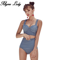 Rhyme Lady New Bikini High Waist Swimsuit Push Up Swimwear Women Bathing Suit Sexy Beach Wear