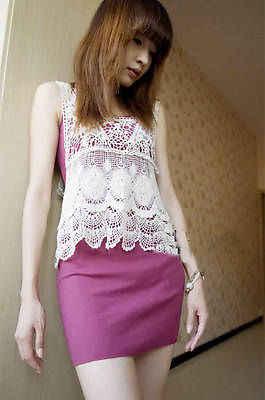 Women Summer Hippie Bohemian Vintage Chic Crochet Lace Beige Sexy Tank Vest Top