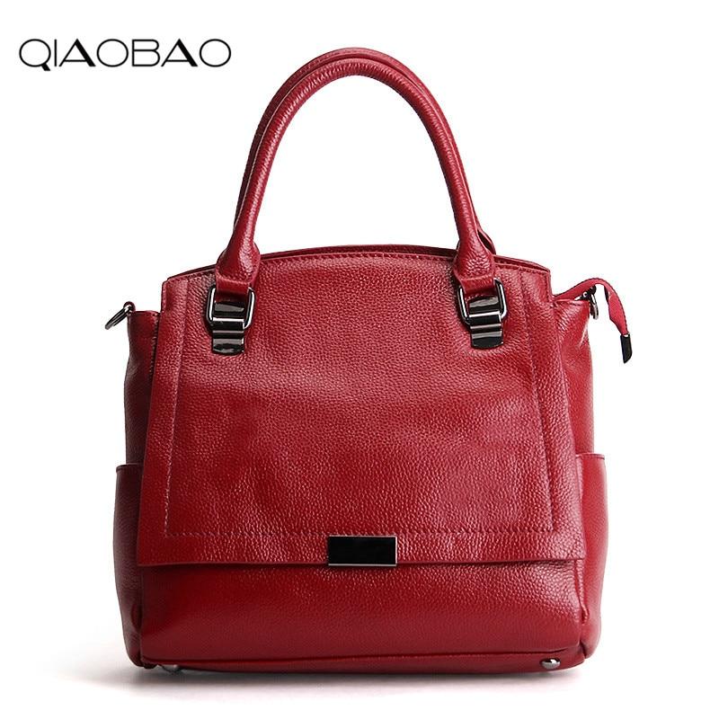 e1f851850117 QIAOBAO 100% Genuine Leather Bag Large Women Leather Handbags Famous Brand  Women Messenger Bags Big