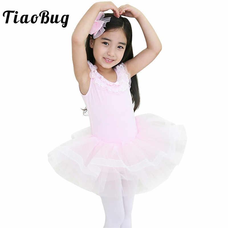 TiaoBug Sevimli Çocuk Kız Tül Bale Tutu Elbise Profesyonel Balerin Parti Dans Leotard Etek Prenses Elbise Çocuk Dans Giyim