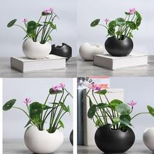 꽃을위한 2x 식물 냄비 내구성 세라믹 홀더 컨테이너 즙이 많은 식물