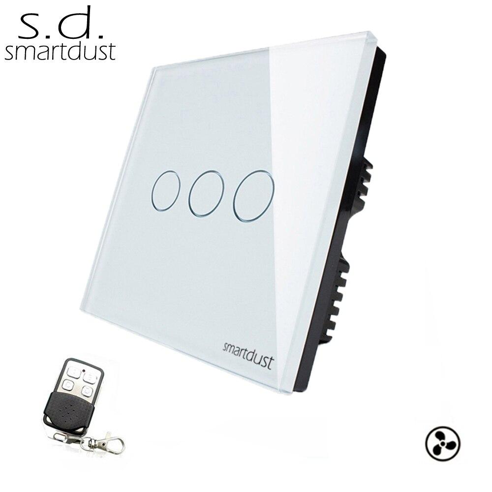 Smartdust UK 3 Gang 1 voie ventilateur RF télécommande tactile interrupteur cristal verre Durable élégant noir blanc or régulateur interrupteur