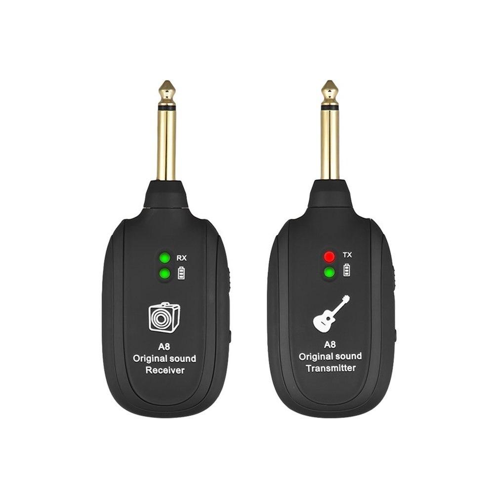 UHF Wireless Gitarre Sender Empfänger System Eingebaute Akku Reichweite für Elektrische Gitarre Bass