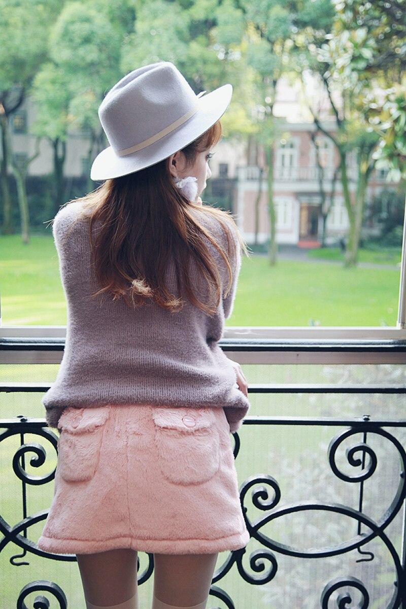 Princesse douce lolita jupe Bobon21 amour en relief coeur rose blanc chaud épais bouffée corail velours doux paquet mini jupe B1301