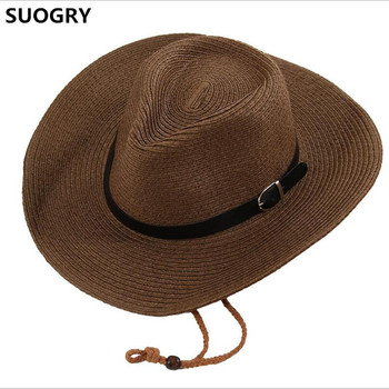 Discount 2018 Mens Summer Hats/Sunscreen Male Folding Cowboy Hat Sunbonnet Beach Large Brim Strawhat