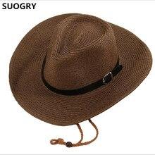 e2373bcc851 Discount 2018 Mens Summer Hats Sunscreen Male Summer Folding Cowboy Hat  Sunbonnet Beach Hat Large
