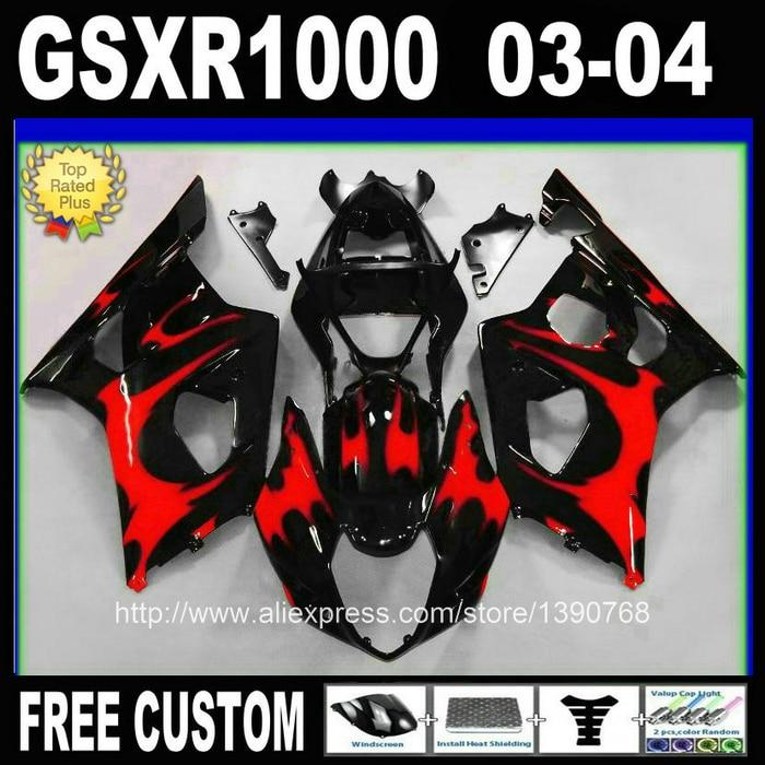 Popular fairing kit for SUZUKI K3 GSX-R1000 2003 2004 red flames in black bodywork fairings set GSXR 1000 03 04 UT73 custom road fairing kits for suzuki glossy flat black 2006 gsxr 1000 k5 2005 gsx r1000 06 05 motorcycle fairings kit