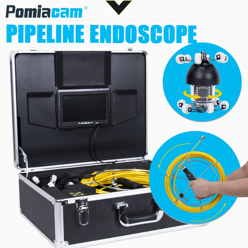 WP360 50 Meter 164Ft 18 white lights Pipe Drain Sewer Inspection Camera 50m cable Pipeline Endoscope Underwater Video dhl free wp90 50m industrial pipeline endoscope 6 5 17 23mm snake video camera 9 lcd sewer drain pipe inspection camera system