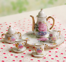 Miniature Dining Ware Tea Set 8pcs Dollhouse Pretend Play Kitchen Toys