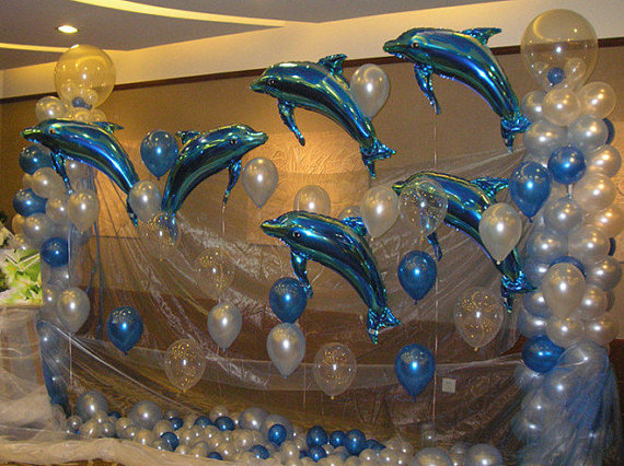 Large Mylar Balloons 33 Dolphin Shaped Aluminum Foil Pink Or Blue Party Balloons Helium Balloons Party Supplies