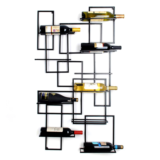 10 Bottle Wall Mounted Metal Wine Holders Iron Rack Holder Bar Shows Decoration