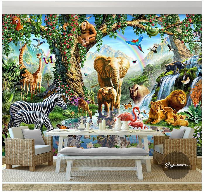 Custom Photo Wallpaper 3d Wall Murals Wallpaper Cartoon Big Elephant Zebra Lion River Animal World Children Painting Wall Decor
