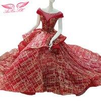 SH AnXin Czerwone koronki księżniczka suknia shinning red lace ruffles suknia wieczorowa czerwony złoty koronki suknia wieczorowa 100% rzeczywistym zdjęcia