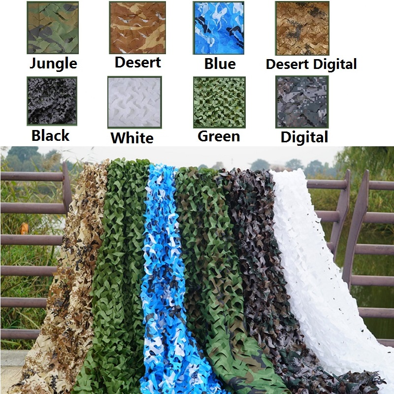 Large Size 8x8 Meter Military Camouflage Net Camping Hunting Camo Net Truck Cover Sun Shelter Background Decoration Tent Shade in Sun Shelter from Sports Entertainment