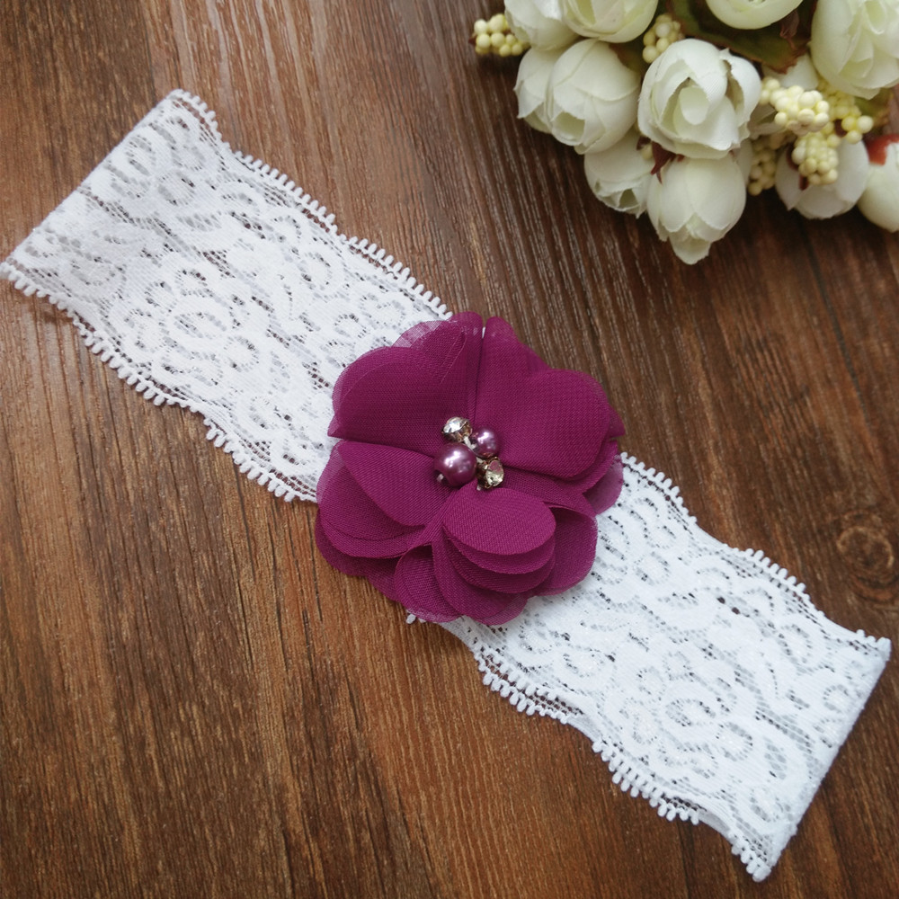 Crystal Wedding Garter: Handmade Garter Chiffon Flower With Pearl Crystal