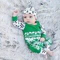 Рождество Хороший Подарок Новый 3 Шт. Комплект Одежды Младенца Печати Hat + Рукавами Тис + Полная Длина Брюки Bebe Одежда костюм Для 0-2 Т