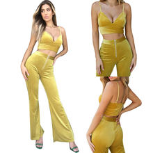 24454f79d73 BKLD 2018 Women Two Piece Set Crop Top And Pants Autumn Velvet Tracksuit 2  Piece Women Sets Yellow Womens Clothing Club Outfit