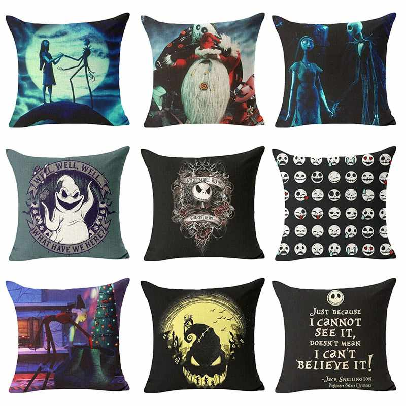 The Nightmare Before Christmas Cushion Cover Cotton Linen Throw Pillow Cover Decorative Horror movie housse de coussin