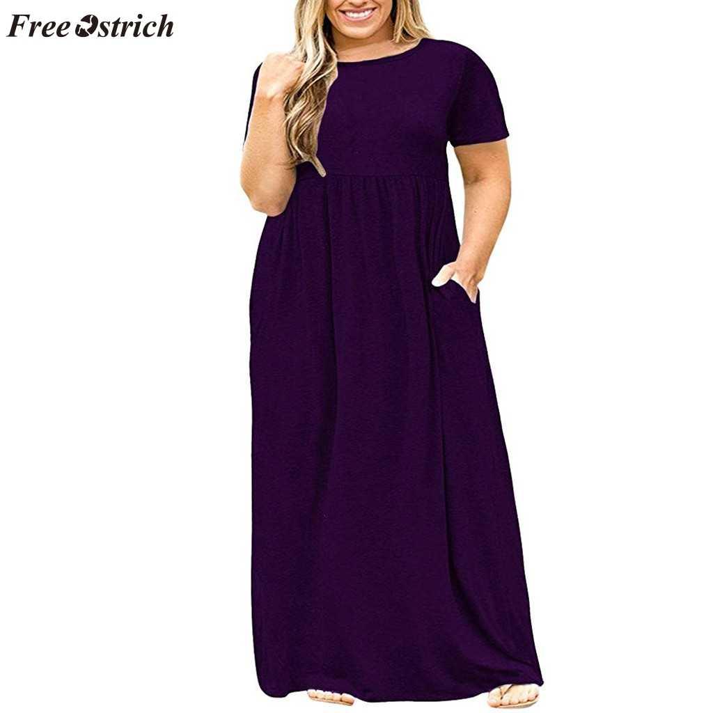 Бесплатная Страусиная Женская трендовая летняя Удобная Освежающая Одежда большого размера с коротким рукавом однотонное платье с круглым вырезом длинное платье с карманом