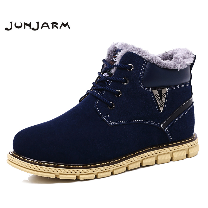 JUNJARM 2017 New Arrival Warm Men Boots Soft Leather Mens Snow Boots Plus Fur Men Winter Boots Casual Leather Men Ankle Boots