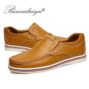 Image 4 - BIMUDUIYU Hot sprzedam męskie brytyjskie buty w stylu łodzi minimalistyczny design skórzane męskie buty sukienka mokasyny formalne buty biznesowe oksfordzie