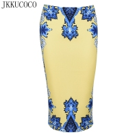 JKKUCOCO Vintage Court Flowers Print Casual Shirt Knee Length Back Zipper Pencil Skirt Women Skirts Slim