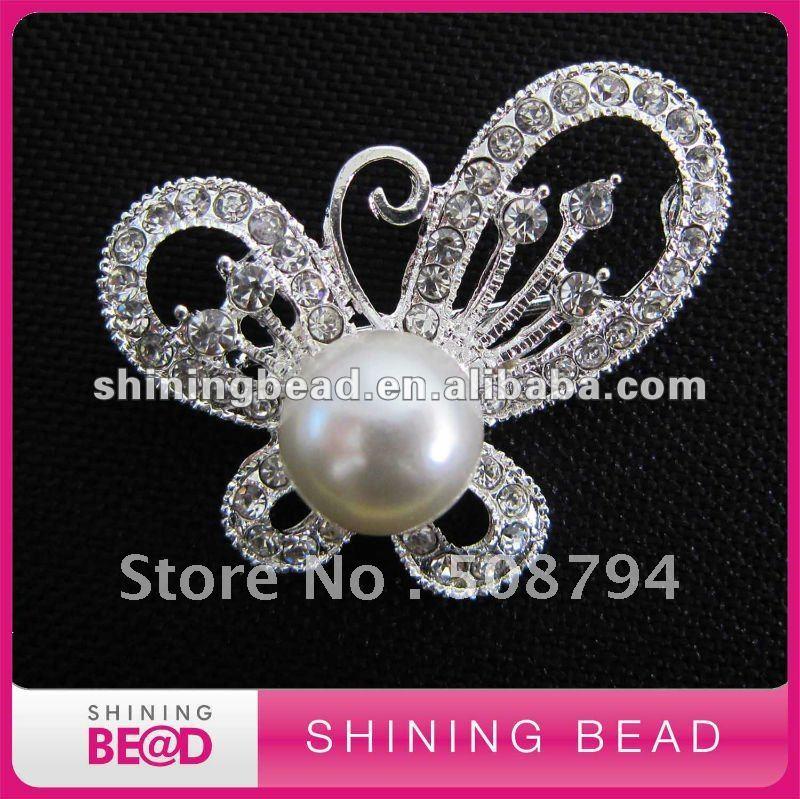 Модный дизайн жемчужный горный хрусталь брошь для свадебного приглашения,, Бабочка Форма жемчуг горный хрусталь брошь