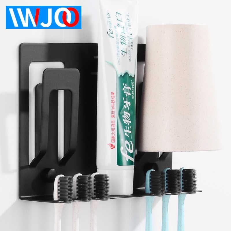 מברשת שיניים מחזיק כוס זוג שחור נירוסטה כוס אביזרי אמבטיה מחזיק מברשת שיניים בעל להגדיר 2 כוס קיר רכוב