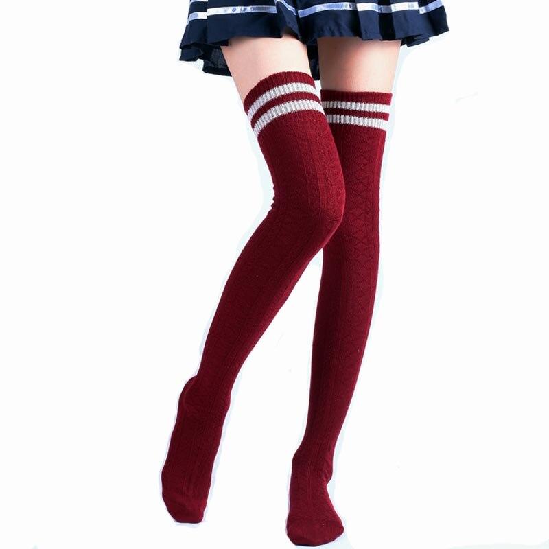 10Pairs Striped Cotton Knee Women Stockings Needle High Tube Leg Warmer Thigh Meia Thickening Warm Kintting Winter Stocking