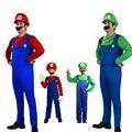 Venta caliente de Halloween Para Adultos Niños Divertidos Trajes de Cosplay Super Mario Luigi Brothers Plumber Para Hombre Fiesta de Disfraces Para Niños Unisex