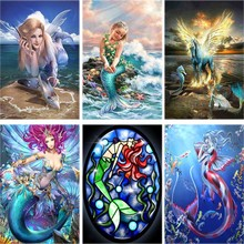 Seascape Daimond Painting Mermaid Full Drill 5d Diy Diamond Embroidery Girl Animal Cross-stitch Rhinestone Home Decor Gift A37 rose daimond painting girl flower full drill 5d diy diamond embroidery feather cross stitch rhinestone home decor art gift a27