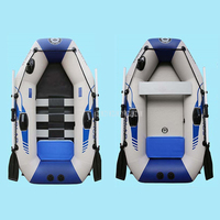 1 2 Person PVC Inflatable Boat Dinghy Fishing Rowing Boat 0.7MM For Drifting Sufing With Aluminum Oars and Air Pump B1175/B3175