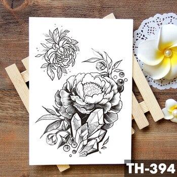 Sketch Flower Blossom Peony Rose Waterproof Temporary Tattoo Sticker Black Tattoos Body Art Arm Hand Girl Women Fake Tatoo 4